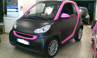 Total covering car wrapping wrap noir rose mat black pink mat 3M Oracal smart fortwo